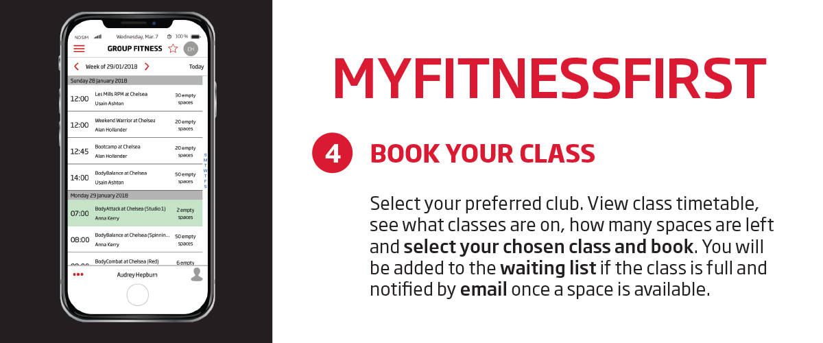 My Fitness First application - class booking guide