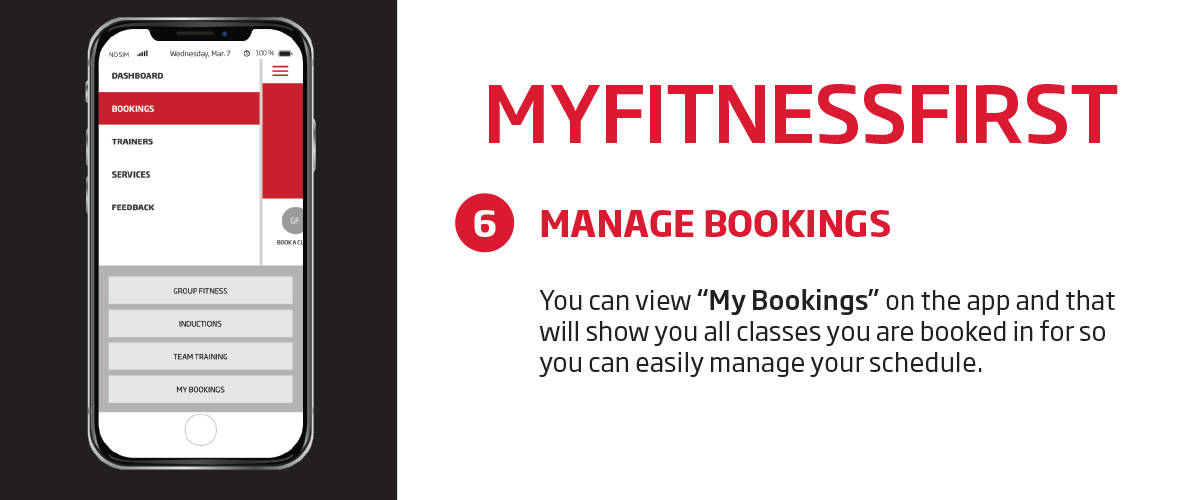 My Fitness First application - manage bookings feature